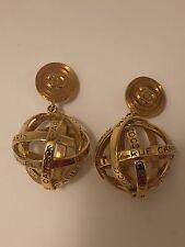 LARGE RARE VINTAGE 1988 GOLD CHANEL OPEN CRISSCROSS GLOBE ORB EARRINGS