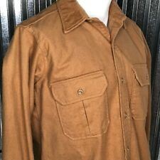 Cabelas Men's 100% Cotton Brown Button Up Made in USA Flannel Cargo Sz L