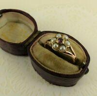 9ct Gold Georgian Ring Pearl & Garnet Antique Size N 1/2  Boxed
