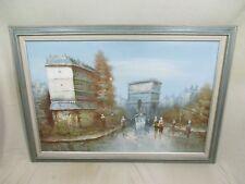 "41"" X 29"" Original Oil Painting Canvas Vintage Scene Buildings People by Taylor"