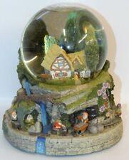 Snow White Musical Snow Globe Seven Dwarfs Jewel Diamond Mine & Cottage Vintage