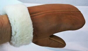 4 COLOR REAL GENUINE SHEEPSKIN SHEARLING LEATHER MITTENS UNISEX Fur Winter S-2XL