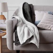Fleece Blanket Warm Throw Luxury Travel Sofa Solid Color Fleece Blankets Grey
