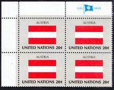UN United Nations 1982 MNH Corner Blk 4, Austria, Flags