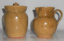 Old Time Pottery Wheel Thrown Creamer & Sugar w/Lid