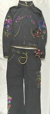 Crystal Rock Christian Audigier Jacket Sweat Pants Love Grey CRW128 Size L