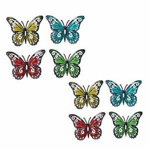 Set of 8 Multi-coloured Small Metal Butterflies Garden/Home Wall Art Ornament