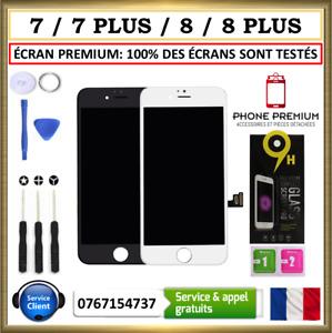 ECRAN IPHONE TACTILE LCD PREMIUM VITRE 7 / 7 PLUS  8 / 8P NOIR BLANC SUR CHASSIS