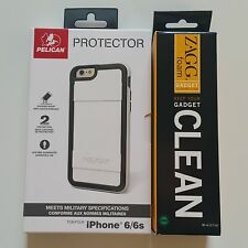 Pelican Protector Case iPhone 6 6s White Black w' ZAGG Cleaner New Sealed in Box