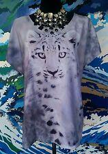 MILLERS Cheetah Cub T-Shirt Top - Grey Black White Mauve - Animal Print Cute- 16
