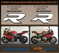 BMW S1000R Tank Decals. 2013-17 - Gloss Black & Gloss White Stickers