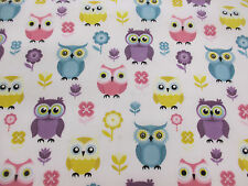 Cute White & Multicoloured Wide Eyed Owls, Owl Printed Polycotton Fabric