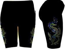PLUS Size Shorts Rhinestone Embellished Sport Yoga Running Exercise Seahorses