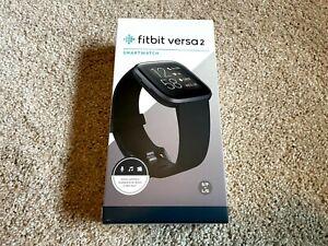 Fitbit Versa 2 Health & Fitness Smartwatch FB507BKBK with black steel mesh band