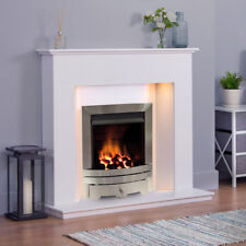 WHITE MARBLE STONE MODERN GAS SURROUND SILVER FIRE COALS FIREPLACE SUITE LIGHTS