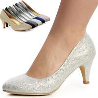 Damenschuhe Glitzer Pumps High Heels Party Hochzeit Blogger Style Trendy