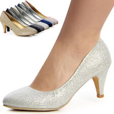 Damen Glitzer Pumps High Heels Party Hochzeit
