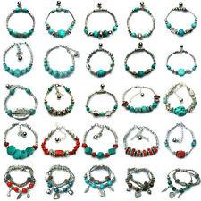Women Tibetan Silver Adjustable Bracelet Irregular Natural Turquoise Bead Bangle