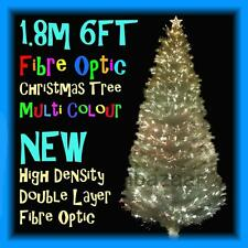 PREMIUM 1.8m 6FT 180cm DENSITY DOUBLE LAYER FIBRE OPTIC CHRISTMAS TREE (WHITE)