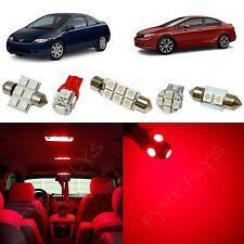 6x Red LED lights interior package kit for 2006-2012 Honda Civic HC1R