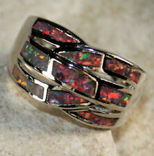 SILVER Elegant Orange Fire Opal Big Ring Size 7 WR40301