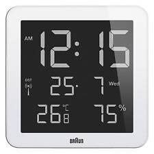 Braun Bnc014 White Global Radio Controlled Digital Wall Clock