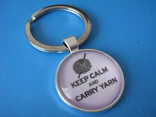 Knitting PORTACHIAVI Keep Calm And Carry filato portachiavi regalo per una Knitter'