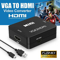 1080P Full HD Mini VGA to HDMI Audio Video Converter Adapter 3.5mm Audio Port