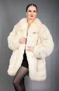 223 GORGEOUS REAL BLUE FOX FUR COAT LUXURY FUR JACKET BEAUTIFUL LOOK SIZE XL