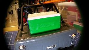 1:18 Scale Model Green Cooler For RC Micro Crawler Garage Accessory Free Ice!