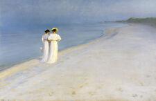 Summer Evening on Photo Beach. Kroyer Anna Ancher Marie Beach Woman B a3 03057