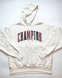 Men's 100% Authentic Champion Hoodie Size Large Color White