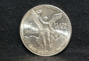 1983 Mexico Libertad 1 Onza Coin .999 Pure Silver 1oz Round - Free US Shipping