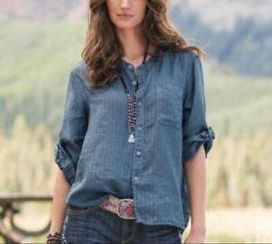 CP SHADES Jess Blue Striped Button Down Shirt Sz.M 100% Linen Top EUC