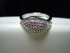 Tiny Ruby And Topaz Round Facet Stone Design Silver Ring Size 7.75 - 15 Carats