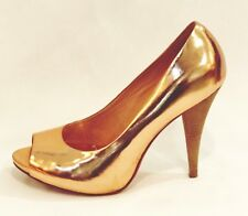 BCBG Maxazria Peep Toe Pumps Rose Gold Metallic Leather Heels Shoes size 7.5
