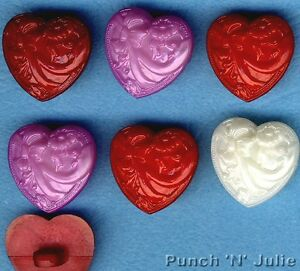 THINKING OF YOU - Red Lilac Cream Valentine's Day Hearts Novelty Craft Buttons