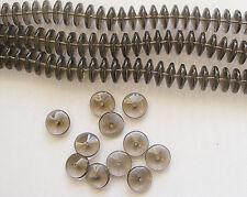 25 Transparent Glass Beads - Disc Shape - 15mm x7mm - Black Diamond