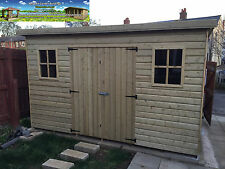 10x8 Pent Garden Shed Workshop Tanalised 16mm T&G Pressure Treated Best Quality