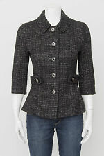 TORY BURCH	Black Metallic Tweed Cotton Wool Button 3/4 Sleeve Blazer Jacket 2/S