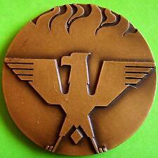 L@@k Volunteer Fireman Firefighter / Eagle / Fire / Centenary BIG Bronze Medal!