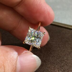 8*8mm Princess Cut CZ Yellow Gold Plated Solitaire Wedding Ring for Women Girl