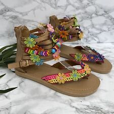 Unbranded Womens Sz 8.5 Floral Bead Embellished Sandal Strappy NEW