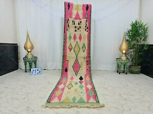 "Moroccan Boujaad Handmade Runner 2'5""x11'3"" Berber Geometric Pink Green Wool Rug"