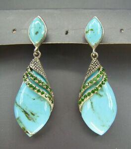 STERLING SILVER Gorgeous BLUE TURQUOISE DANGLE EARRINGS w/Sim EMERALD TRIM DROP