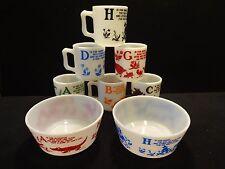 RARE 8 Piece Hazel Atlas Alphabet Prayer Mugs & Bowls Set in Mint Condition