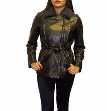 Tibor Design Women's Fur Collar Leather Jacket