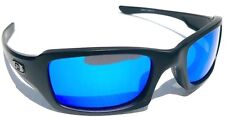 NEW Oakley FIVES Squared Matte Black w POLARIZED Galaxy BLUE Sunglass 9238