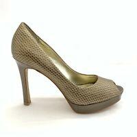 Anne Klein Women Size 9 Bronze Brown Faux Leather Peep Toe Platform Pump Shoe