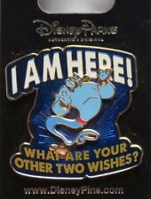 DISNEY WDW DLR GENIE OF LAMP FROM ALADDIN I AM HERE ! WHAT ARE TWO WISHES ? PIN